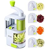 Spiralizer Vegetable Slicer (4-in-1 Rotating Blades) Heavy Duty Veggie...