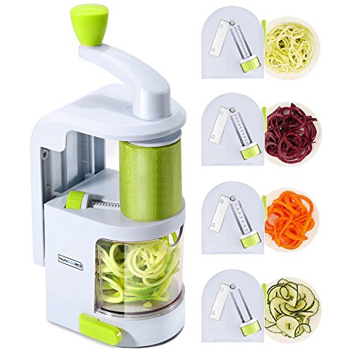 Spiralizer Vegetable Slicer (4-in-1 Rotating Blades) Heavy Duty Veggie Spiralizer with Strong Suction Cup, Zucchini Spiral Noodle/Zoodle/Spaghetti/Pasta Maker ( Recipe Book and Cleaning Brush)