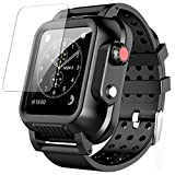 SPIDERCASE Waterproof Case for Apple Watch Series 3 42mm with Premium Soft Silicone Band, Built-in Screen Protector Full Body Rugged Case, Anti-Scratch Shockproof Case for Apple Watch Series 3 42mm