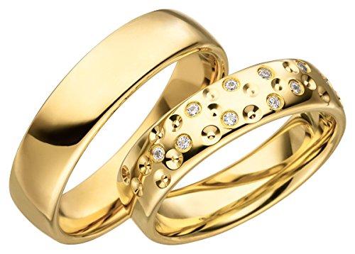 JC Trauringe 925er Sterling Silber Paarpreis I Eheringe mit kostenloser Gravur I Verlobungsringe Gold Plattiert 5,5 mm breit im Etui I Herren-Ring ohne & Damen-Ring mit Steinen I Gr. 48 bis 72 I JC006