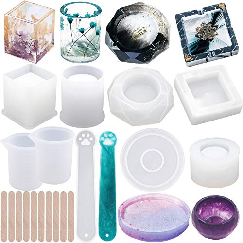 EuTengHao Stampo in resina in silicone, 19 pezzi, in resina, con bombola rotonda, a forma di cubo, in resina epossidica, per vaso di fiori, posacenere, sapone