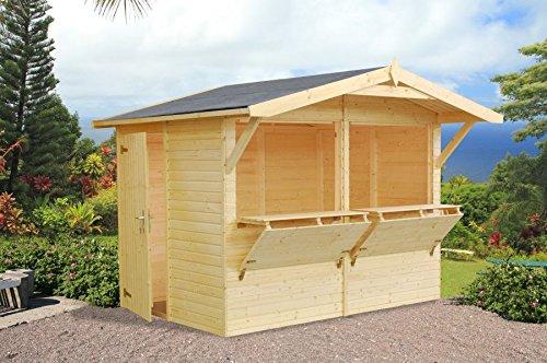 Chalet kiosque en bois de sapin - Idéal comme cabane de jardin - Avec épaisseur de 16 mm - 5 m² - Dimensions : 273 x 190 cm