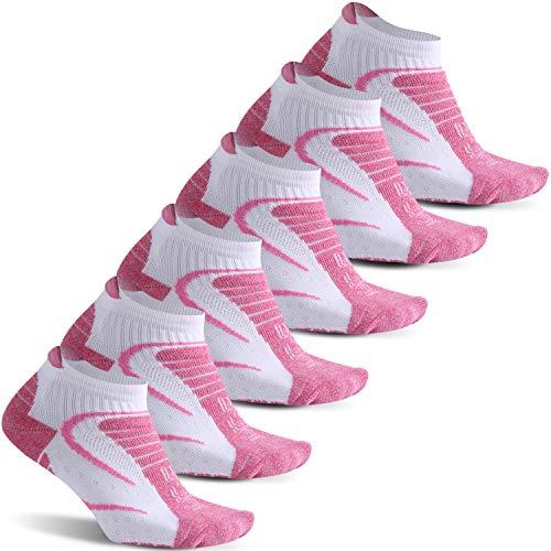 Athletic Running Socks, Facool Hiking Socks Womens, Padded Outdoor Climbing Backpacking Socks, Camping Tennis Golf Low Cut Christmas Socks Large 6 Pairs Pink/White