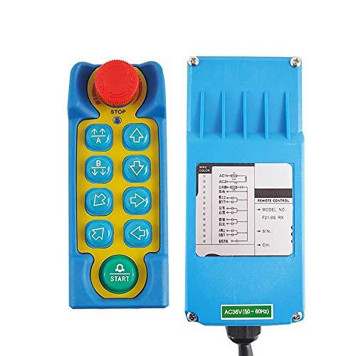 MXBAOHENG industriële kraan afstandsbediening hijskraan Telecontrol F21-8S draadloze bediening voor kraan met 1 zender en 1 ontvanger, 12V