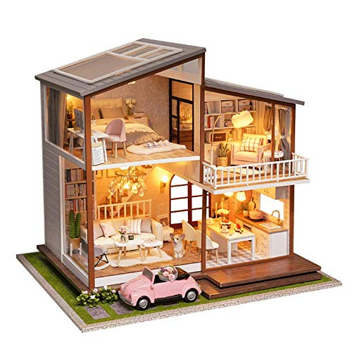Big DIY Dollhouse Whole Kit Modern Villa 2 Floors Dollhouse DIY Miniature Dollhouse Kits for Adults with Dust Proof &Light Miniatures Collection DIY 3D Wooden Houses Gift for Him/Her Tiny House