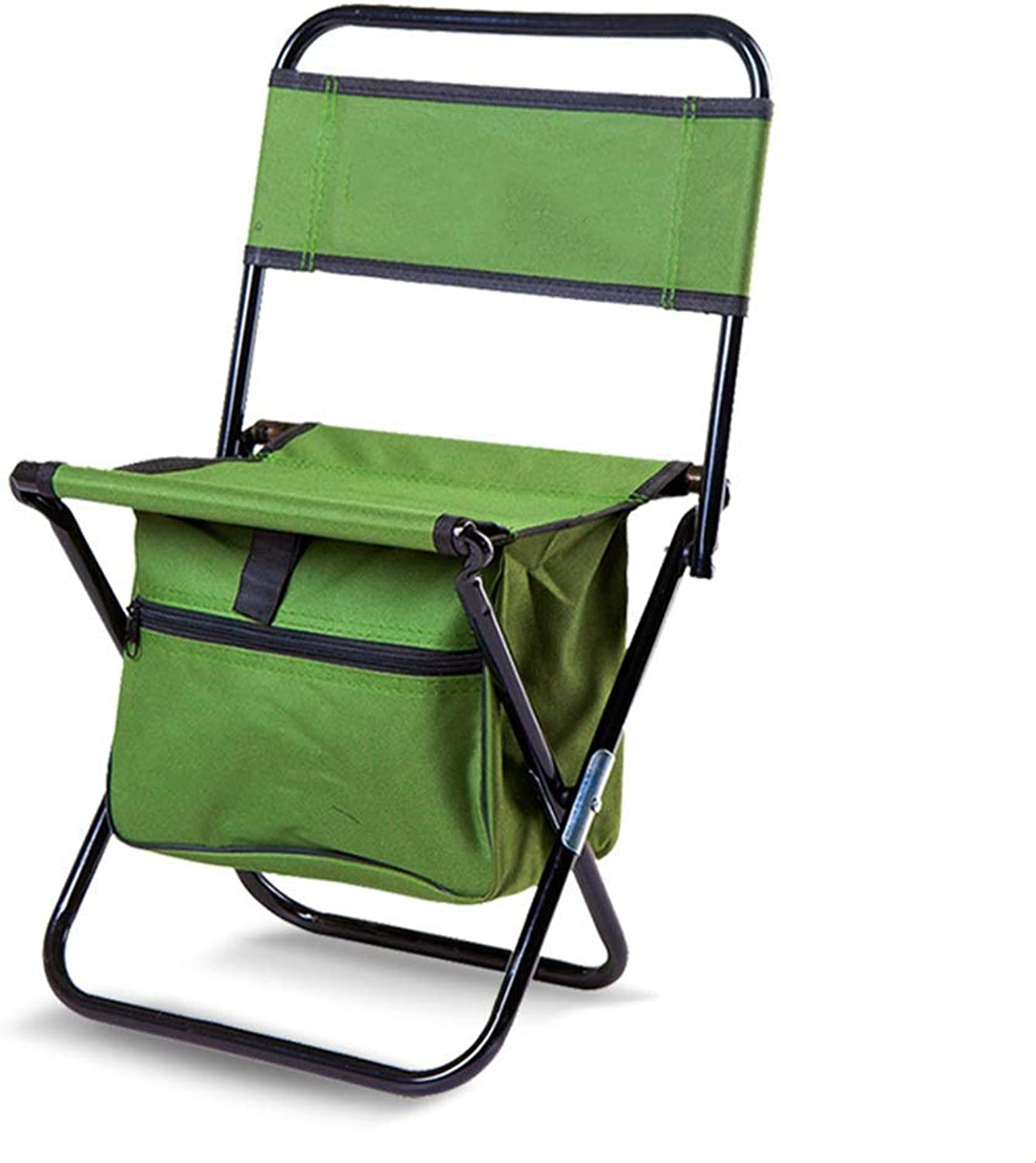 Outdoor Portable Folding Chair Camping Stool Backrest Storage Bag Leisure Comfort Picnic Travel Fishing Mountaineering Barbecue Park Garden Beach Army Green