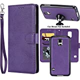 Ranyi Galaxy S5 Case, Detachable Wallet Case [Magnetic Hard Cover Fit Car Mount] Credit Card Holder Slots 2 in 1 Leather Flip Folio Wallet Strap Case for Samsung Galaxy S5 (2014), Purple