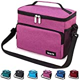 Leakproof Reusable Insulated Cooler Lunch Bag - Office Work Picnic Hiking Beach Lunch Box Organizer with Adjustable Shoulder Strap for Women,Men-Purple