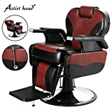 Artist Hand Barber Chair Hydraulic Reclining Barber Chairs Heavy Duty Salon Chair for Hair Stylist Tattoo Chair Salon Equipment (Red,Black)