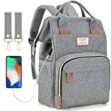 Diaper Bag Backpack with USB Port,Baby Nappy Changing Backpack Bag with Stroller Straps, Multi-Function Waterproof Stylish Tote Bag (Light Grey)