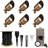 VOLT Brass Spotlight Kit (6-Pack) with Transformer