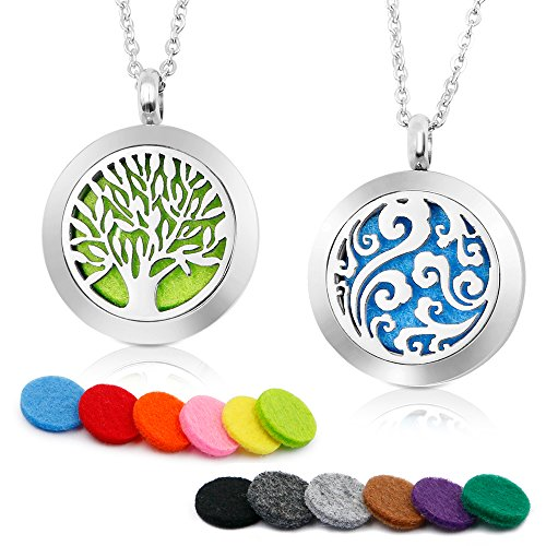 RoyAroma 2PCS Aromatherapy Essential Oil Diffuser Necklace Two Patterns Pendant Locket Jewelry,23.6'Adjustable Chain Stainless Steel Perfume Necklace
