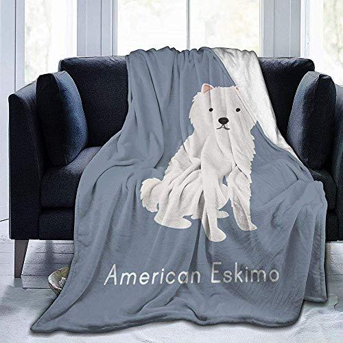 Groefod Cute American Eskimo Dog Decke Micro Plüsch All Season Flanell TV Decke für Bett oder Couch