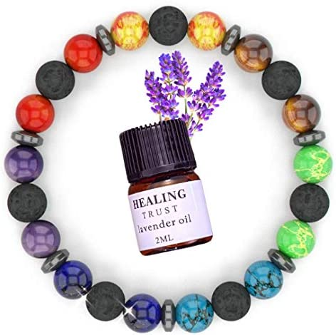 Chakra Lava Rock Aromatherapy Diffuser Bracelet with Lavender Essential Oil Essential Oil Bracelet product image