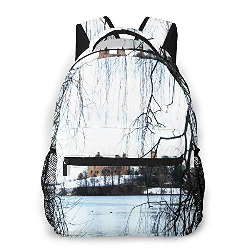 Laptop Rucksack Daypack Schulrucksack Backpack Palace Loch Winterschnee, Business Taschen Freizeit Rucksack Arbeits Schultasche,für Herren Männer Schüler Schule