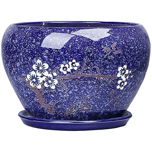 High Quality European style blue flower pot ceramic extra large living room personality green plant pot with drain hole bonsai flower pot garden decoration frame ceramic glazed flower container cerami