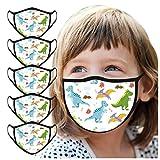 SALUCIA 5 Stück Kinder Mundschutz Multifunktionstuch Cartoons Druck Maske Atmungsaktive Baumwolle Stoffmaske Waschbar Mund-Nasenschutz Tiermotiv Bandana Halstuch Jungen Mädchen