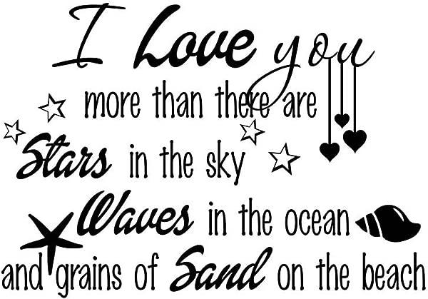 气势磅礴的设计我爱你胜过天空中有星星海洋中的波浪宗教贴纸哥林多前书幼儿园墙壁贴花艺术装饰励志励志贴纸刻字