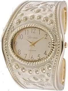 Geneva Platinum 12863512 Women's Vintage Cuff Watch- TAN/GOLD