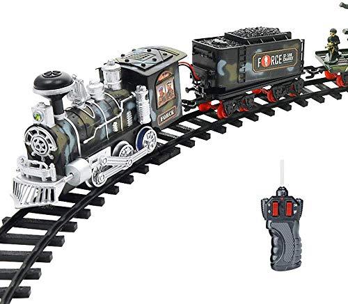 SEESEE.U Juego de tren de vapor eléctrico RC con diseño de simulación de juguete para niños con control remoto recargable, ideal para cumpleaños, Año Nuevo, Navidad para niños