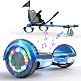 """SOUTHERN-WOLF Hoverboard go Kart, Self Balance Scooter with Hoverkart 6.5 Inches Hoverboards for kids LED with Lights and Bluetooth Speaker Best Gifts for Kids Self Balancing Scooter 6.5""""(Blue)"""