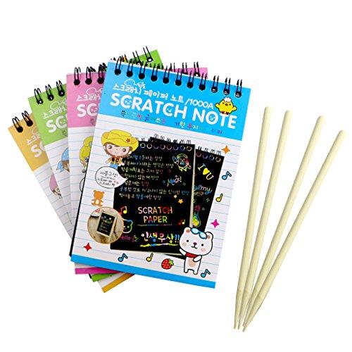 AERVEAL Rompecabezas de Dibujo, Nota para rascar, cartulina Negra, Notas Creativas de Dibujo de Bricolaje para Cuaderno de Juguete para niños