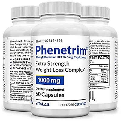 Phenetrim 37.5 Powerful Weight Management, Best Appetite Control, Physician Recommended, 60 Diet Pills
