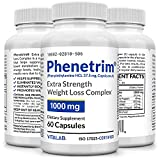 Pharmacuetical Grade Phenetrim 37.5 Best Appetite Suppressant, 1000mg Extra Strength Weight Loss, Fat Burner, 60 Diet Pills