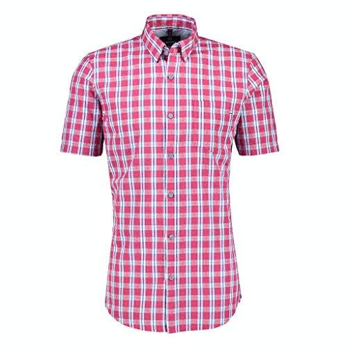 LERROS Herren Kariertes Kurzarmhemd Hemd, Rose HIP RED, L
