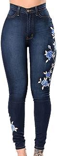 Zooka Flower Embroidered Jeans Pant Women Elastic Mom Jean Pencil Denim Pant Female Sexy Skinny Femme Bottom Trouser