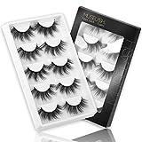 MUSELASH 3D False Eyelashes,5 Pairs Faux Mink Lashes Pack Handmade,Luxurious Volume Fluffy Soft Reusable Fake lashes for Women…