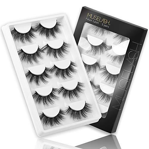 MUSELASH 3D False Eyelashes,5 Pairs Faux Mink Lashes Pack Handmade,Luxurious Volume Fluffy Soft Reusable Fake lashes for Women……
