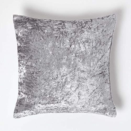 Homescapes–Funda para Cojín de Terciopelo Arrugado Plateado Cuadrado Gris Cojín para sofá o Cama, 100% poliéster, Plateado, 45 x 45 cm (18