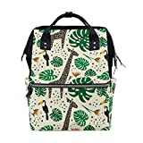 JinDoDo - Mochila de jirafas, tucanes, hojas de palma, bolsa para estudiantes, mochila para mamá, bolsa de ordenador