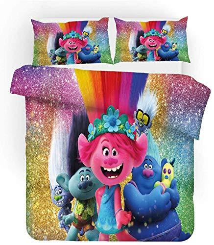 Trolls, set copripiumino in microfibra per camera da letto, decorazione per bambini, set di biancheria da letto con 2 federe con chiusura lampo (01,135 x 200 cm (80 x 80 cm)