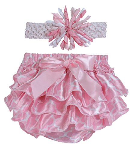 Price comparison product image Stephan Baby Pink and White Satin Ruffled Diaper Cover and Curly Bow Headband