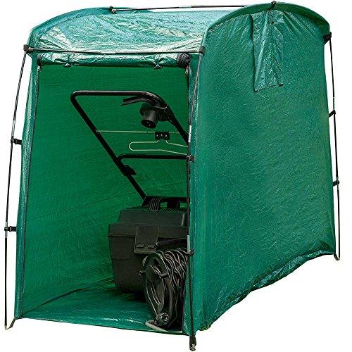 Happy People Garage für den Rasenmäher, aus langlebigem Kunststoff, 125x85 cm // Rasenmähergarage Schutzhaube Zelt Schutz Hülle Gartengeräte Plane