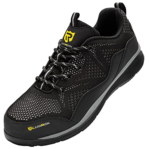 LARNMERN PRO Steel Toe Shoes Men Lightweight Safety Sneakers Breathable Puncture Proof Tennis Shoe for Work Black Gray