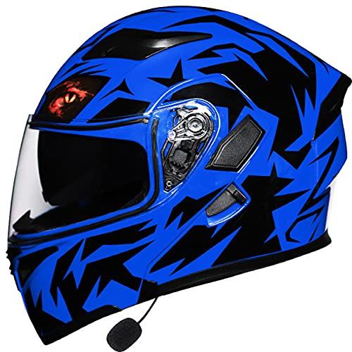 Cascos modulares de motocicleta Certificación ECE Bluetooth Visera doble abatible Cascos integrales incorporado Auriculares Bluetooth Micrófono hombres adultos Mujeres,B,L 58~59cm