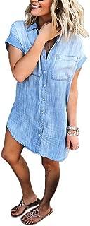 Uinolo Women's Denim Blouse Dress Button Down T-Shirt Tops with Pockets