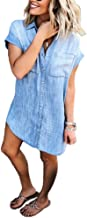 Uinolo Women's Denim Blouse Dress Button Down T-Shirt Tops with Pockets