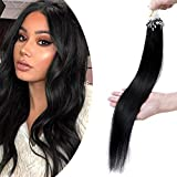 16'(40cm) SEGO Micro Loop Ring Extensiones de Cabello Natural [1g*50Mechas] #1 Negro Intenso 100% Remy Hair Extensiones Queratina Invisibles (50g)
