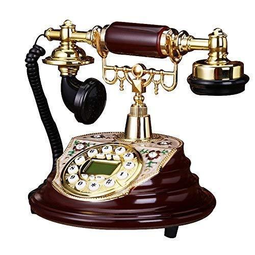 LDDZB Teléfono europeo retro familia con cable botón dial de gama alta fijo teléfono fijo