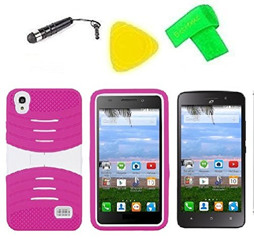Heavy Duty Hybrid Phone Cover Case + Screen Protector + Extreme Band + Stylus Pen + Pry Tool For Straight Talk Tracfone NET10 Huawei Pronto LTE H891L / Ascend SnapTo G620-A2 LTE (S-Hybrid Pink White)