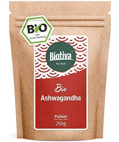 Ashwagandha Organic Powder (250g) - Ashwagandha Root Powder - Berry - Ayurveda - Ginseng Indien - Withania Somnifera - embouteillé en Allemagne (DE-ÖKO-005) - végan