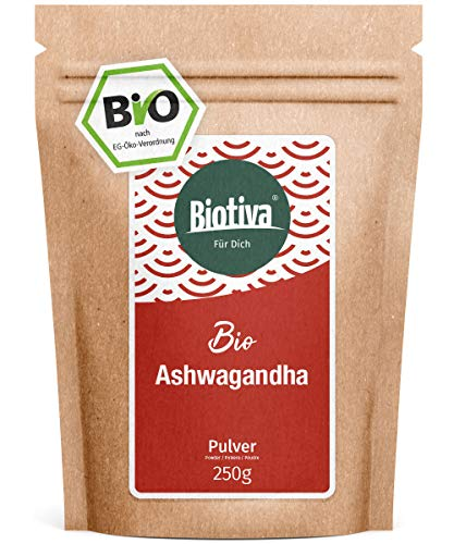 Ashwagandha Polvo Orgánico (250g) - Ashwagandha Polvo de Raíz - Bayas - Ayurveda - Ginseng Indio - Withania Somnifera - embotellado en Alemania (DE-ÖKO-005) - vegano