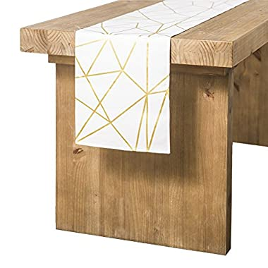 ling's moment Geometric-Inspired White and Gold Table Runner for Morden & Stylish Wedding Holiday Party Decor, 100% Cotton 12 x 108 Inches