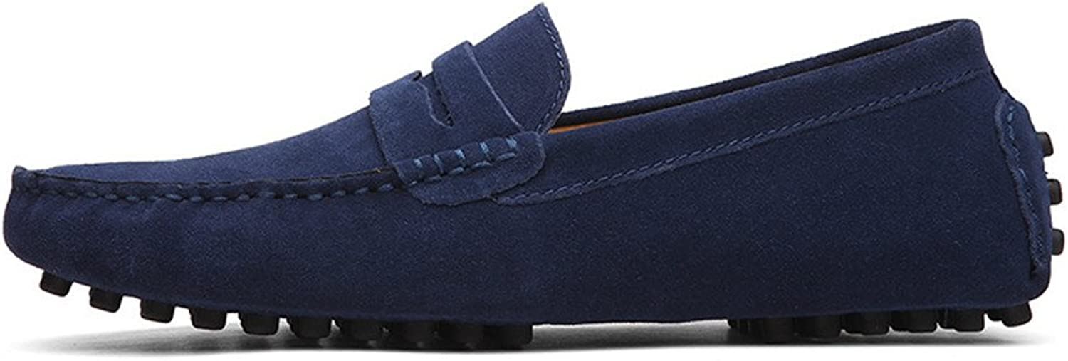 Z.L.F Men's Driving Penny Loafers Suede Genuine Leather Fashion Moccasins Slip-On Boat shoes Up to Size 12 MUS Oxford shoes (color   Navy, Size   10.5 MUS)