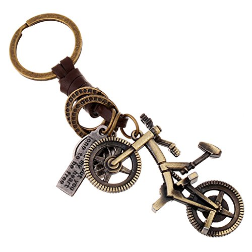 Sucolin Fahrrad Schlüsselbund Metall Cool Schlüsselanhänger Leder Schlüssel Vintage
