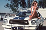 Farrah Fawcett Charlie's Angels 24X36 Poster awesome pose sitting barefoot on hood of Mustang
